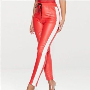 Prettylittlething Red and white leather joggers